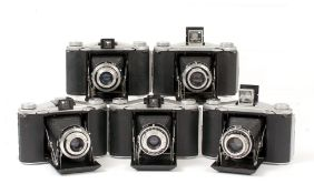 Five Ensign 12-20 Folding Roll Film Cameras. Versions I & II and with various shutter/lens