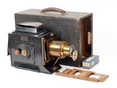 Large Newton & Co Tin & Brass Magic Lantern Projector. Converted to electric lamp but unable to test