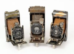 Three Butchers/Ensign Tropical Folding Cameras. Comprising Watch Pocket Carbine and two Carbine