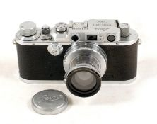 Chrome Leica III with Neat Engraving to Underside of Baseplate. Camera body #130243 (slight bright