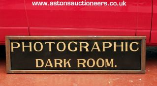 LARGE Edwardian Shop Sign 'Photographic Darkroom'. From Smith's Chemist, Sliver Street, Durham. Hand