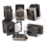 Five Mini Folding Plate Cameras. To include mid-1920s Zeiss Ikon Duchessa, Ernemann Lilliput,