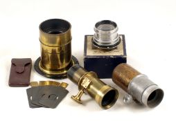 "A J. H. Dallmeyer Triple Achromatic Brass Lens & Waterhouse Stops. #10801 Rear thread 2 3/4"", with"