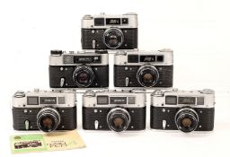 Five Soviet FED 4 Rangefinder Cameras and a FED 5c. Each with standard lens, most with ERCs (all