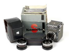 Komaflex S 4x4 SLR Outfit. Comprising camera (slight crack to viewing screen, hence condition 5/