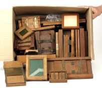 A LARGE Box of Wooden & Other Printing Out Frames. Several with makers names or logos etc. HEAVY. (