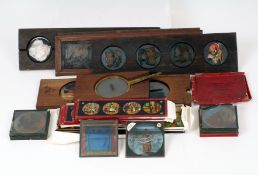 End Lot of Magic Lantern Slides, To include slipper slides (3, one missing a part), strip slides (