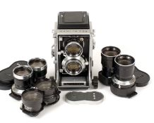Mamiya C33 outfit. Comprising camera body with 80mm lens, plus 65mm, 13.5cm & 18cm lenses. (all