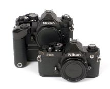 A Pair of Black Nikon FM2n Film Camera Bodies. #7508355 and #7720968 with MD-11 motor drive. (