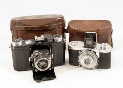Black Zeiss Ikon Super Nettel CRF Camera. With Triotar 5cm f3.5 lens (condition 4F) with ERC. Also a