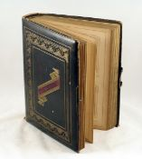 "Victorian Family Photo Album with Hand-Painted Pages & Around 70 Images. 42 pages 8"" x 11"" - 13"