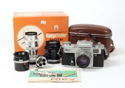 A Good Kiev 4M Rangefinder Outfit. Comprising Kiev 4M body with 53mm f2 Jupiter-8M with ERC and in