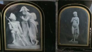 Two Stereo Daguerreotypes of Statues, Napoleonic Soldiers at Rest & a Nymph or Goddess. Former has