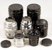 Group of Four Soviet M42 Screw Mount Lenses. Comprising FAST Jupiter 8 85mm f2; Jupiter 11A 135mm f4