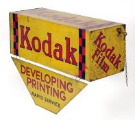 Large, 4-Sided Hanging Kodak Advertising Sign. approx 56x30x30cms, plus lower section and with