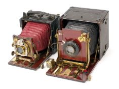 Thornton Pickard Nimrod Automan Hand & Stand Plate Camera. Maroon bellows, with wood and brass