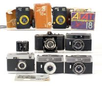Seven Russian & German Half Frame Cameras. Comprising uncommon CHAIKA, 2x Akat 18K, boxed;