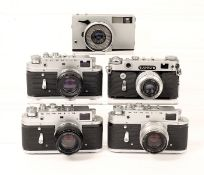 FIVE Soviet Zorki 35mm Cameras, All With Lenses & Cases. Comprising 3x Zorki 4; Zorki 6 and an