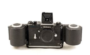 Black Motor Driven Nikon F with WLF & 250 Exposure Back. Camera #6817604 (condition 5/6F). Unable to
