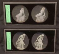 Two Stereo Daguerreotypes of Naked Nymphs or Goddesses. Possibly Aphrodite (often depicted with a