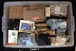 A LARGE Plastic Crate of Early to Mid-20th Century Developing Equipment. To include Bakelite and