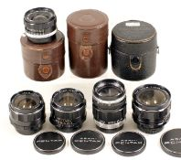 Five Pentax M42 Screw Mount Lenses, Some Early Versions. Comprising Takumar 105mm f2.8; Two SMC