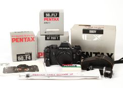 Late Model Pentax LX Outfit. Comprising late version LX body #5264682 (ASA to 3200) with Accessory