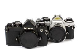 Two Nikon FE Camera Bodies. Comprising chrome FE#3696568 (condition 5F) and black body #3518837 (