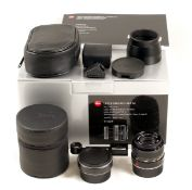 Black Leica 90mm f4 Collapsible Macro Elmar Set M. #4175316. Complete set with Macro-Adapter M,