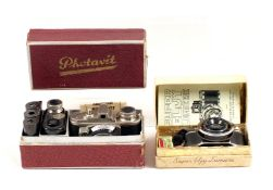 Two French Miniature Camera Outfits. A 35mm Lumiere Elgy (condition 5F) in original (slightly