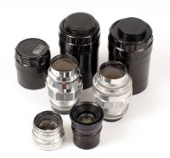 Four Soviet L39 Screw Mount Lenses. Comprising a Jupiter 12 35mm f2.8 lens in keeper (condition 4E),
