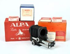 Alpa Camera Box, Macro Bellows & Other Accessories. To include camera and lens boxes, filters etc.
