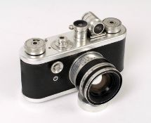 Chrome Periflex 1 Camera with Uncommon Lumax 45mm f1.9 Lens. (condition 5F). With 'clip-on' finder