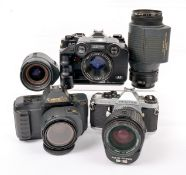 Canon & Other Early Autofocus SLR Outfits. Comprising Canon T80 body with 50mm f1.8 and 35-70mm f3.