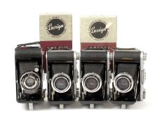 Four Ensign Selfix Folding Roll Film Cameras. Comprising Selfix in makers box and three Selfix 820