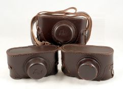 DESCRIPTION CHANGE: Two Unused, REPRODUCTION Ever Ready Camera Cases, Marked Reid. With straps. Also