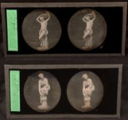 Two Stereo Daguerreotypes of Naked Nymphs or Goddesses. La Grande Baigneuse (The Great Bather)
