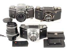 Chrome Ihagee VP Exakta C and Varex VX cameras and a black VP B. (all condition 5F). Also a CZJ