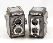Two Grey SEM 120 TLR Cameras. Semflex Otmatic with Som Berthiot Flor f3.5 75mm lenses and a