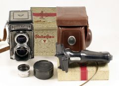 Grey Metered Rolleiflex 'T' TLR Camera. Shows all the attributes of a Rolleiflex T, but serial #