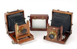 A Thornton Pickard Tribune Quarter Plate Camera. With TP Rectoplanat Lens and roller shutter. Also