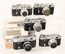 Five Zorki 2 & FED Rangefinder Cameras. Comprising Zorki 2-C; 3x FED 2 with ERCs; FED 3 with ERC and