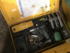 REMS BATTERY POWERED CRIMPER C/W HEADS ETC AS SHOWN IN IMAGES DIRECT FROM TRAINING SCHOOL