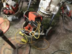 RIGID 300 PIPE THREADER 0N STAND C/W ROLLER STAND AND BOWL OF ASSORTED TOOLING ETC AS SHOWN DIRECT