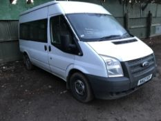FORD TRANSIT 9 SEAT MINIBUS WITH REAR TOOL AREA, REG:NA12 YOY DIRECT FROM LOCAL COMPANY AS PART OF