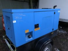 25KVA TOWED STEPHILL GENERATOR SET, BLUE WHEN TESTED WAS SEEN TO RUN AND MAKE POWER