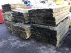 7X PALLETS OF FEATHER EDGE TIMBER CONTAINING 1 X 1.2M, REST 1.5-1.8M LENGTH