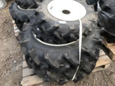 SET OF 4 X COMPACT TRACTOR WHEELS AND TYRES 2 X 6-14 PLUS 2 X 9.5-24