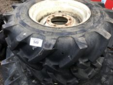 SET OF 4 X COMPACT TRACTOR WHEELS AND TYRES 2 X 9.5-16 PLUS 2 X 13.6-26