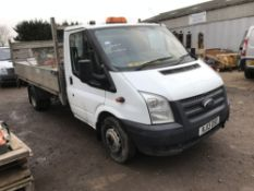 FORD TRANSIT DROP SIDE FLAT BED TRUCK WITH TAIL LIFT REG:RJ13 OSO 147,682 REC MILES. DIRECT EX